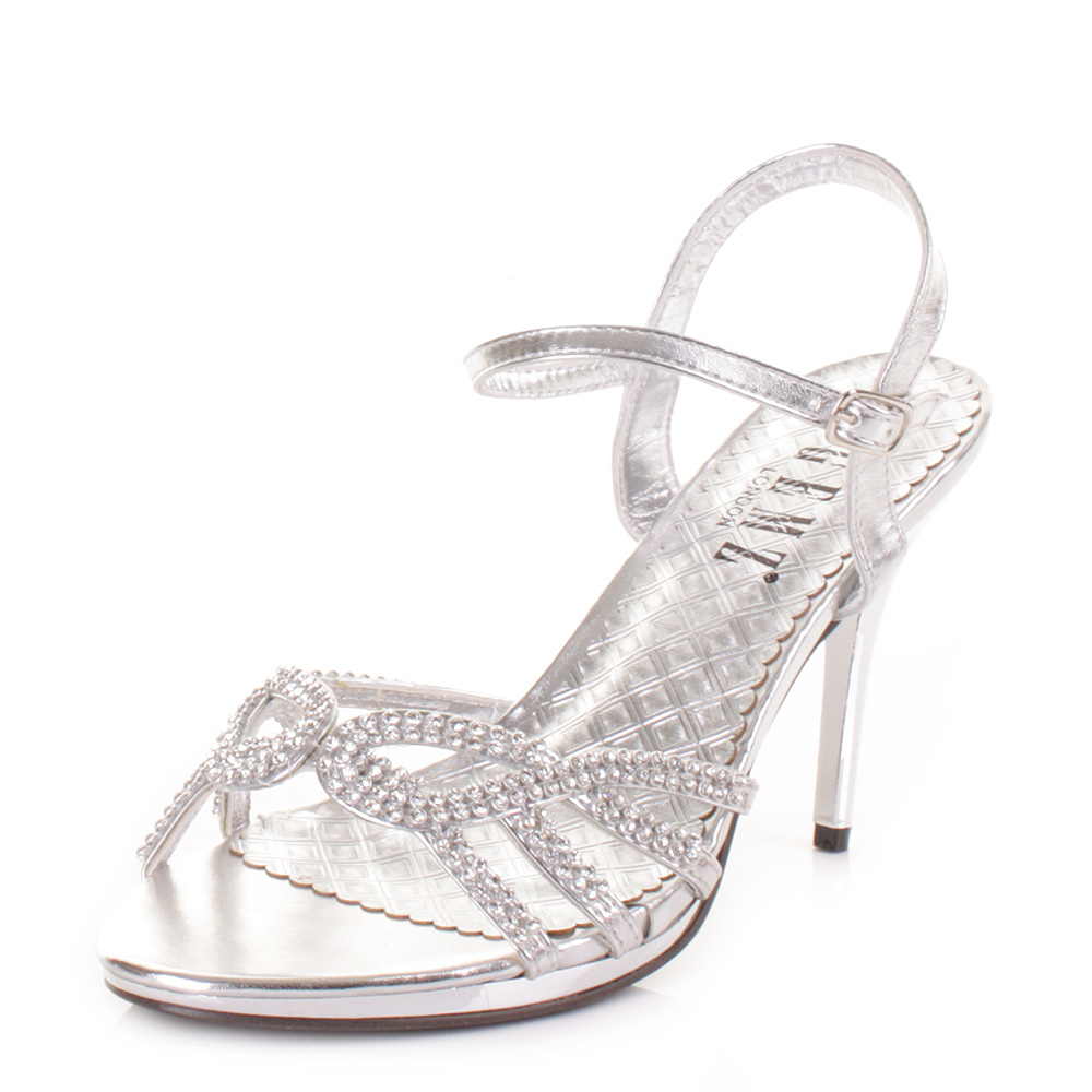 womens silver diamante mid heel strappy prom wedding