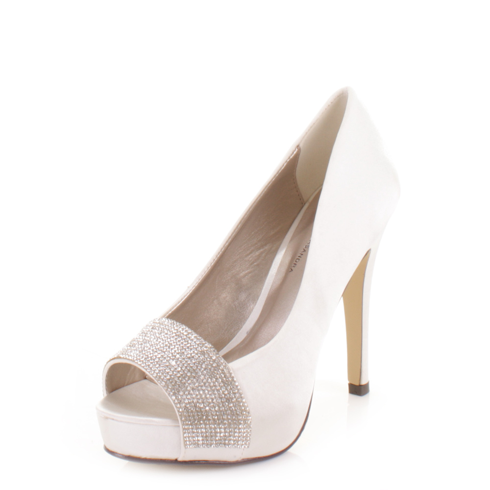 bridal wedding ivory satin diamante peep toe platform high