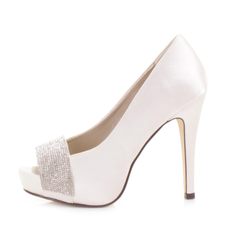Wedding High Heels Ivory: BRIDAL WEDDING IVORY SATIN DIAMANTE PEEP TOE PLATFORM HIGH