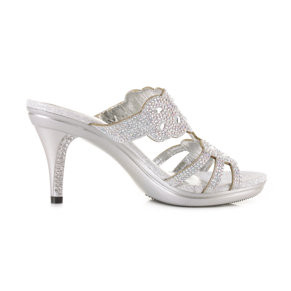 Silver Bridal Shoes Medium Heel