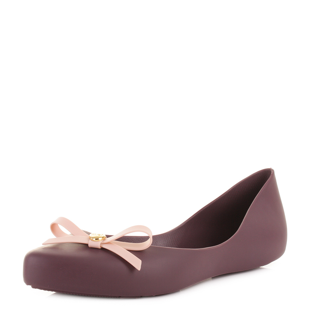 Details about WOMENS MEL SHOES DREAMING BOW PLUM POINTED TOE FLAT