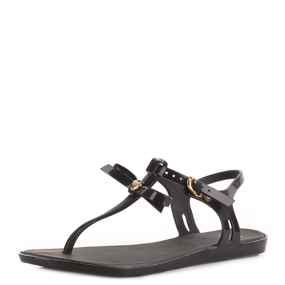 Black jelly sandals with bow - Womens Mel Special 2 Black Bow Toe Post Jelly Sandals Shoes Size