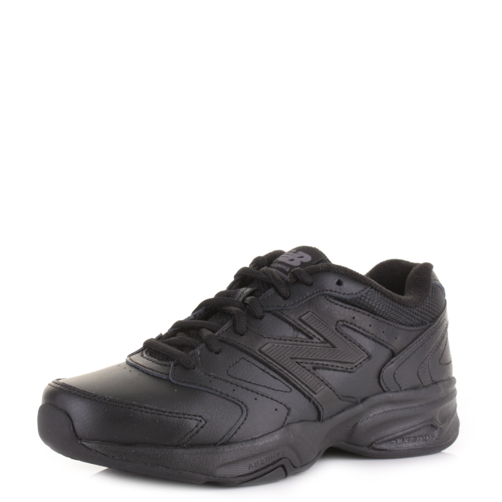 new balance black leather trainers