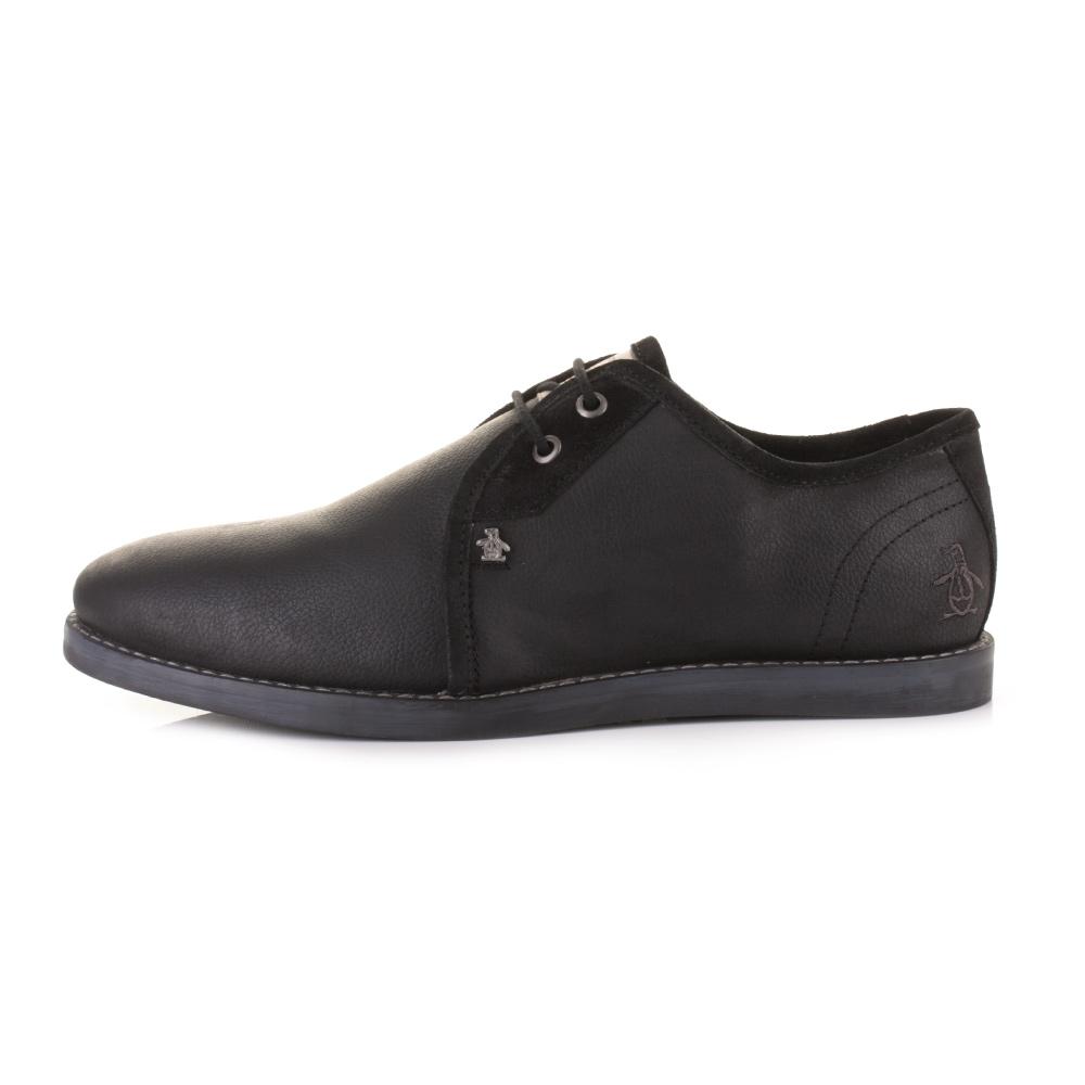 mens original penguin legit 2 black leather lace up casual