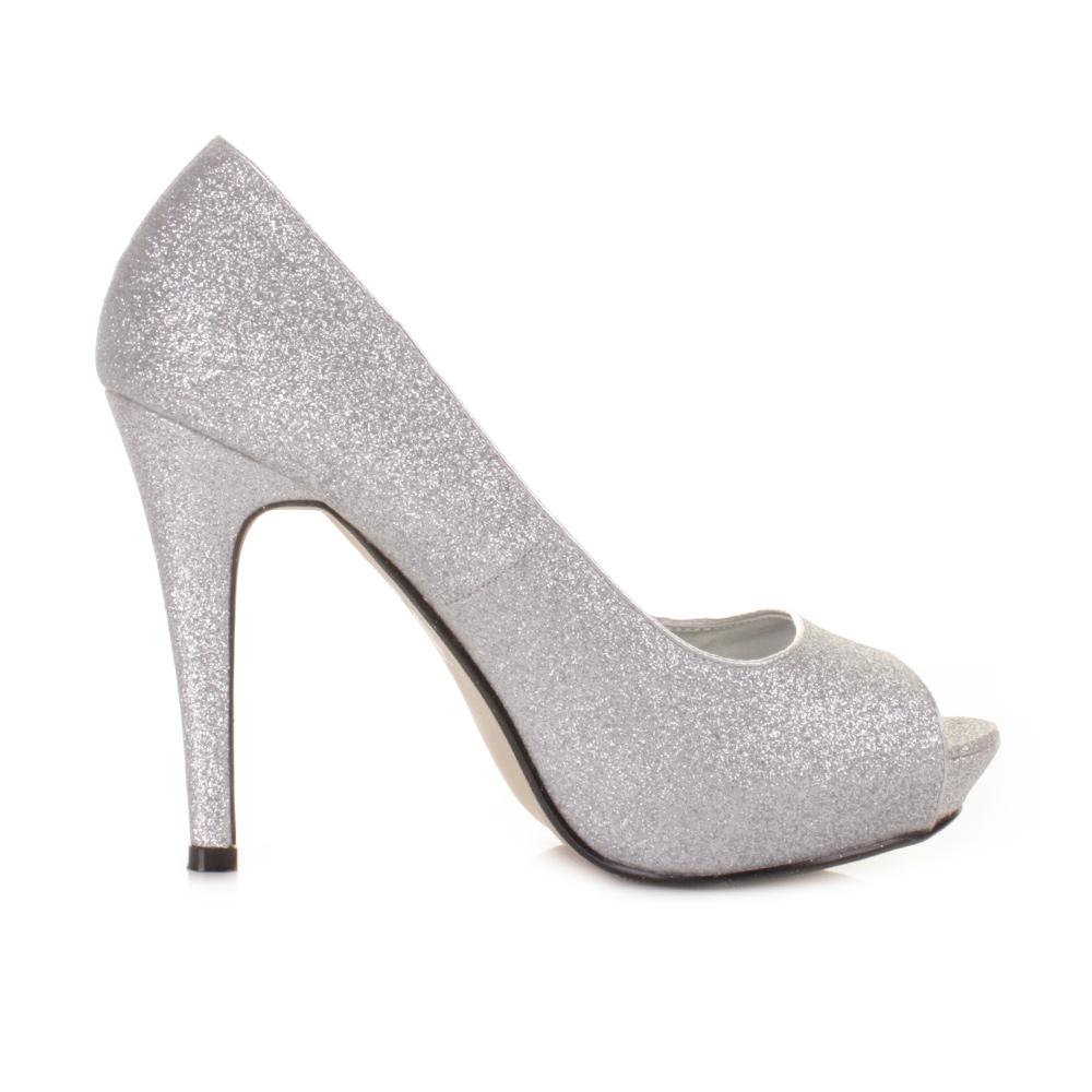 womens high heel peep toe silver glitter platform court