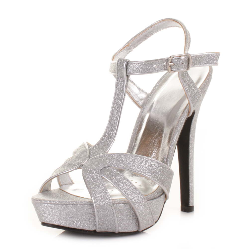 womens high heel strappy t bar ankle glitter prom
