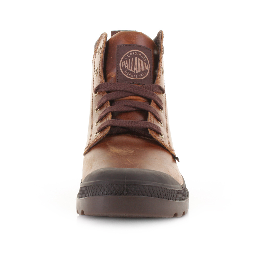 mens palladium pa hi cuff leather chocolate
