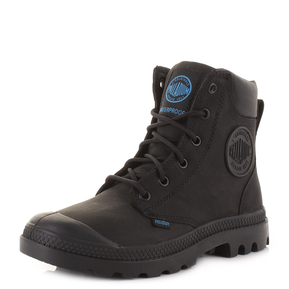 ... PALLADIUM PAMPA CUFF WP BLACK LUX LACE UP WATERPROOF ANKLE BOOTS SIZE
