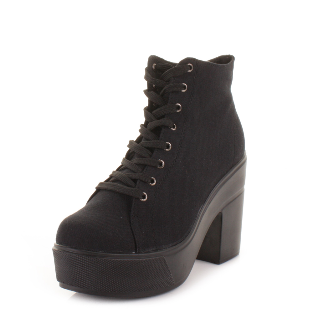 womens black canvas platform chunky heel lace up