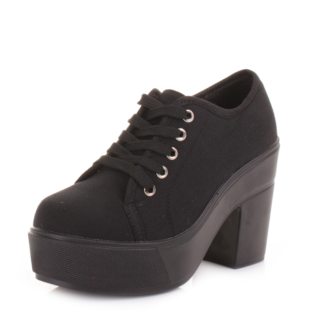 Women Black Canvas Platform Chunky Heel Lace Up Fashion Shoes Size 5