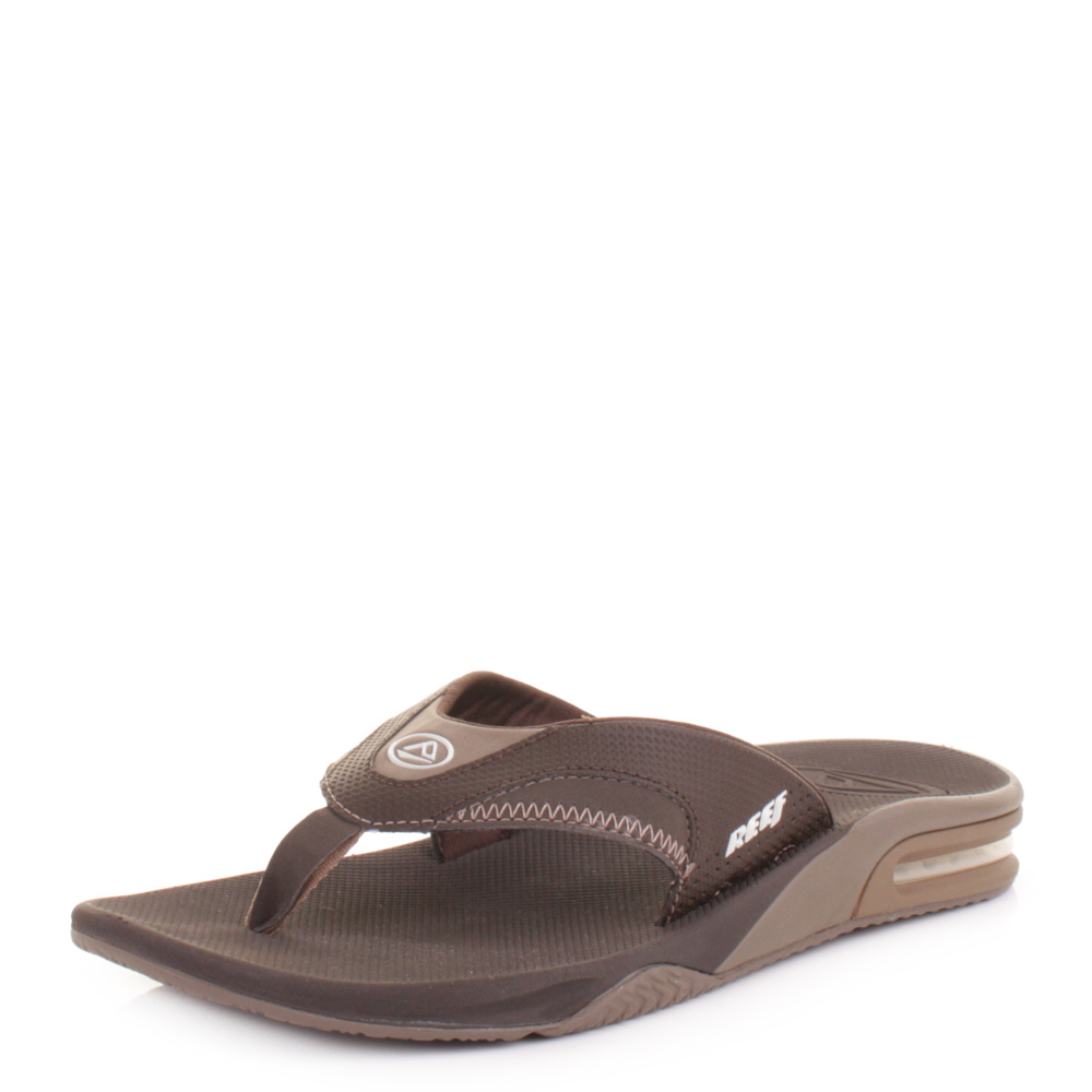 mens reef fanning brown lux surf bottle opener flip flops sandals size 6 12 ebay. Black Bedroom Furniture Sets. Home Design Ideas