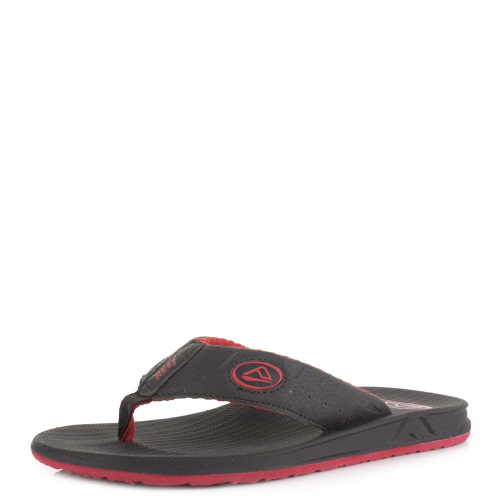 Mens Reef Phantoms Chilli Red Black Toe Post Flip Flops ...