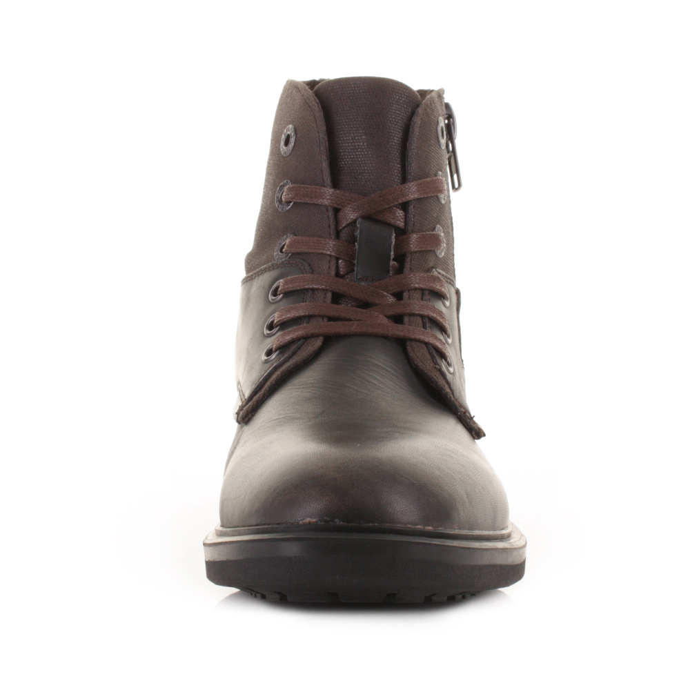 mens replay nest brown leather lace up worker