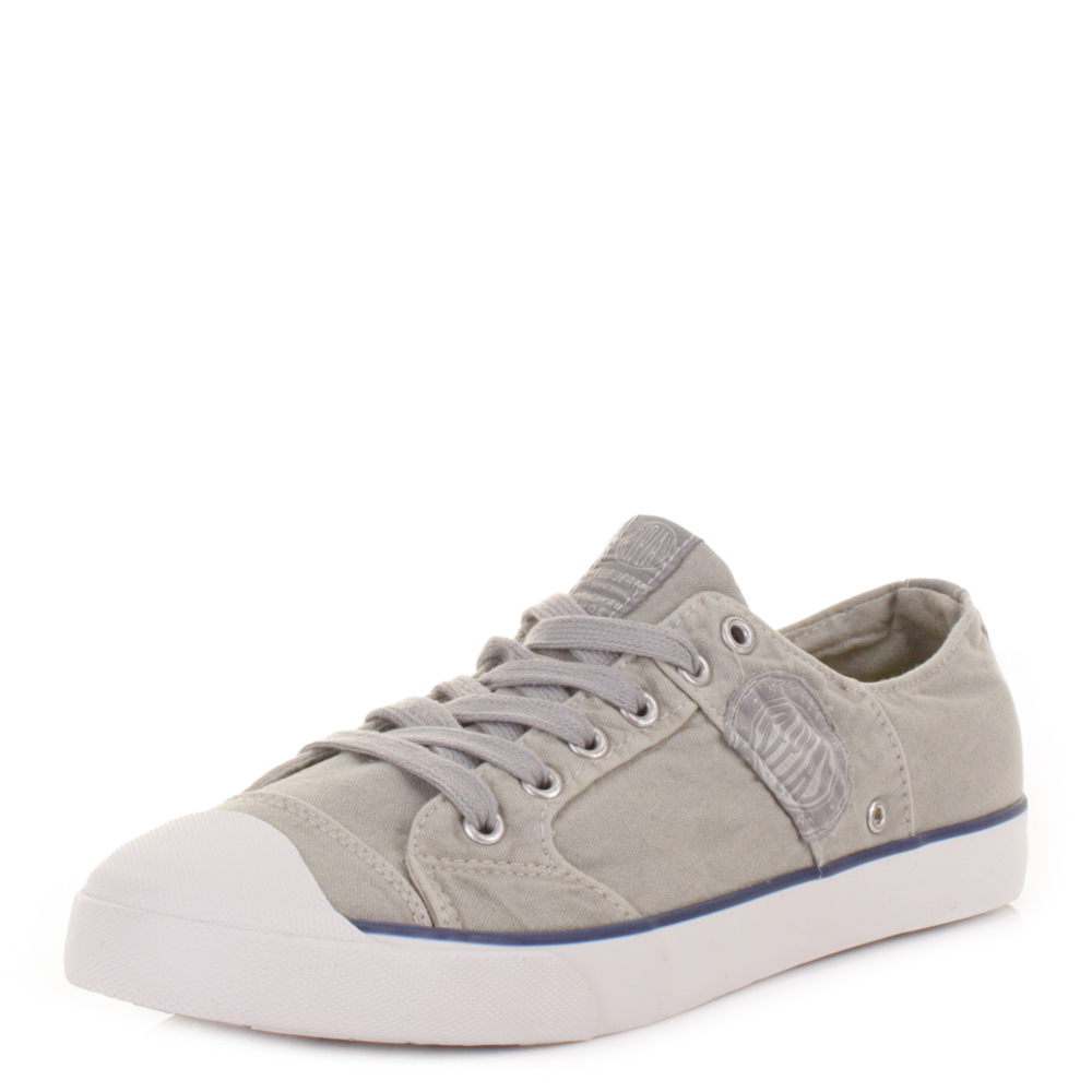 Mens Replay Kartem Washed Grey Casual Lace Up Trainers Shoes Size 6 12
