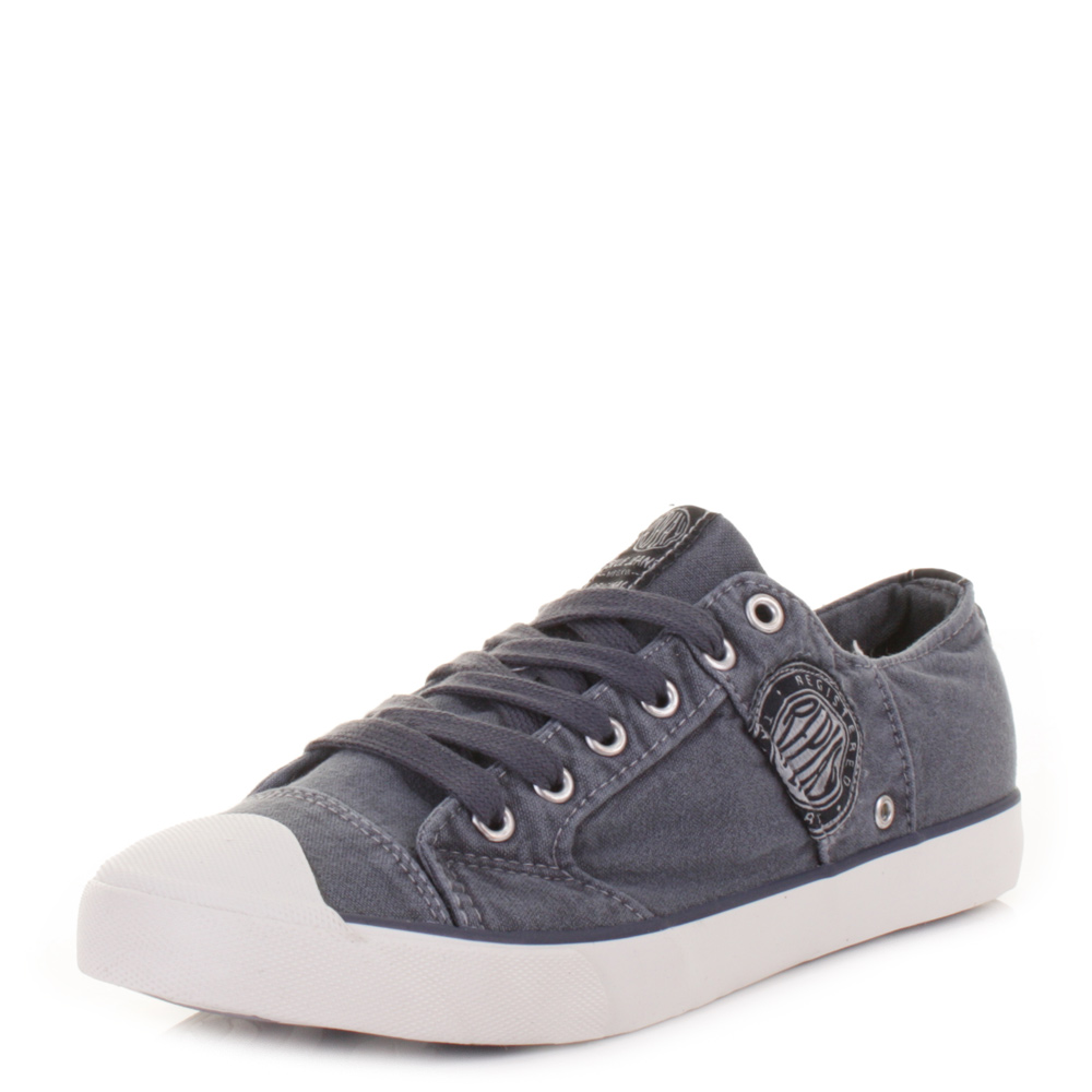 Mens Replay Kartem Casual Lace Up Washed Vulcanised