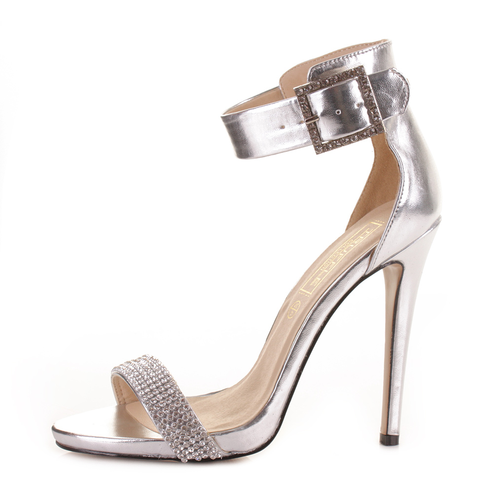 womens silver high heel diamante buckle ankle sandals shoes size ebay