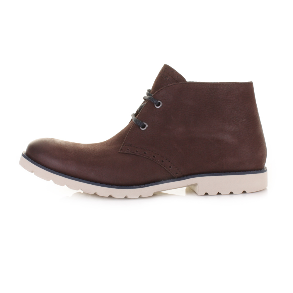 mens rockport ledge hill brown lace up leather chukka