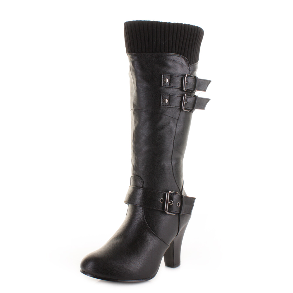 womens black mid calf knitted cuff heel heeled leather
