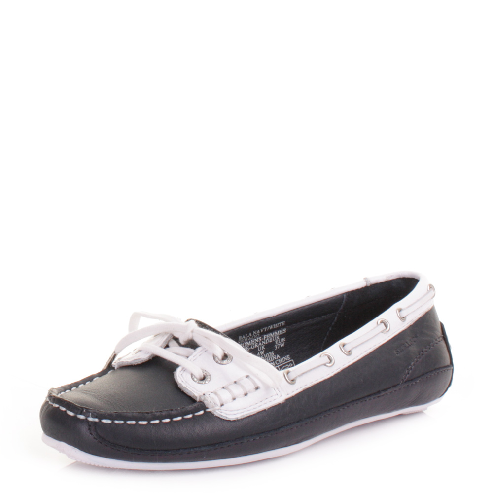 womens sebago bala navy white leather deck boat mocassins
