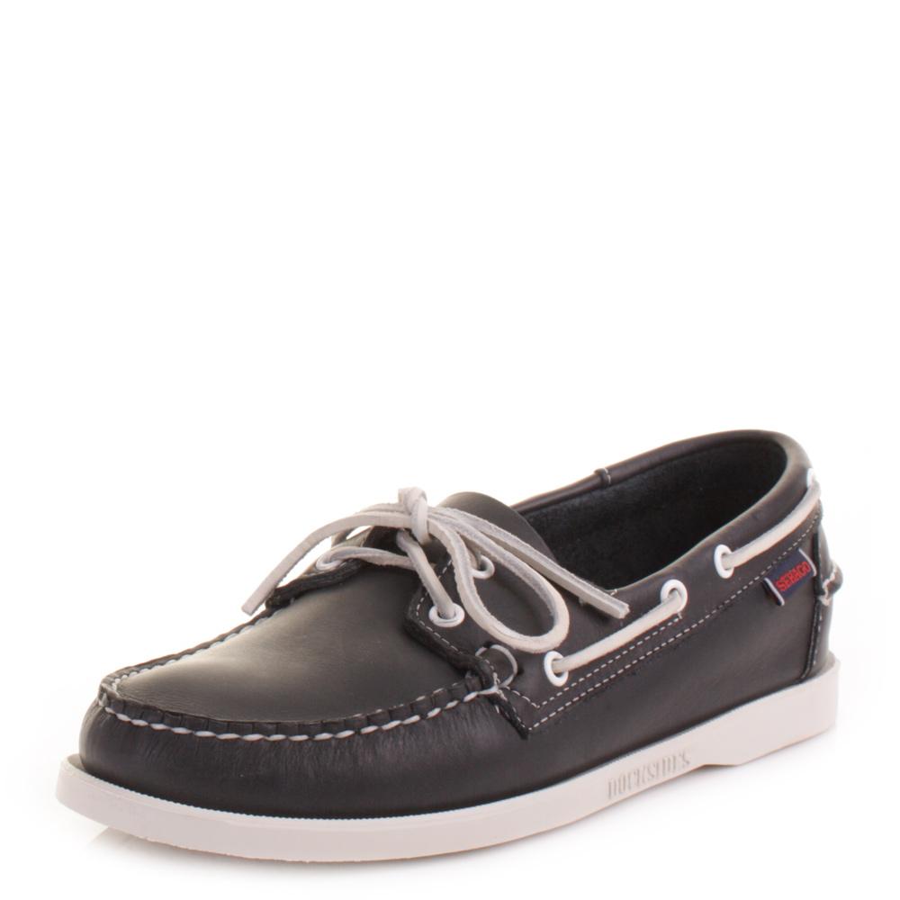 Mens Sebago Dockside Blue Nite Leather Handsewn Deck Boat Shoes Size 6