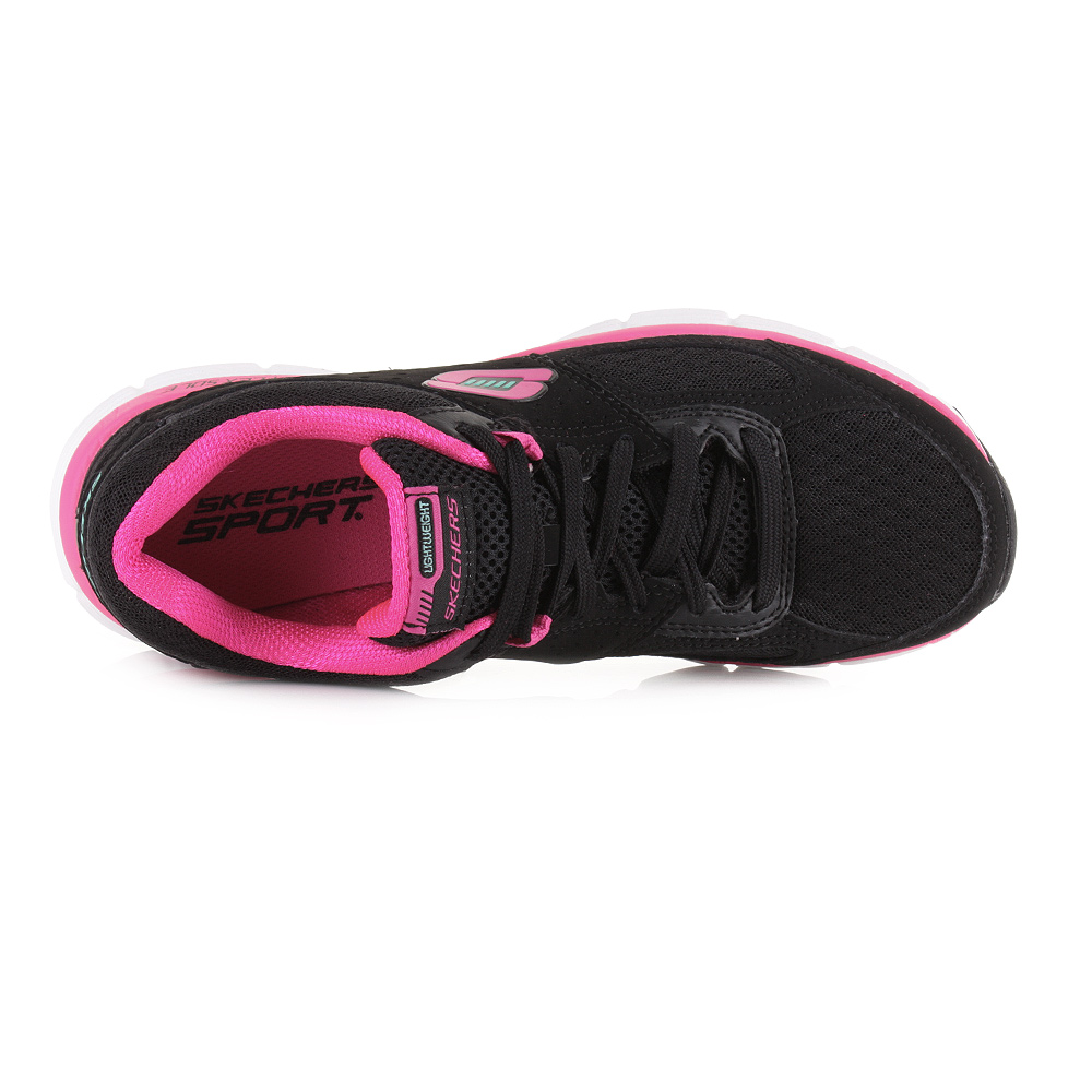 black and pink skechers