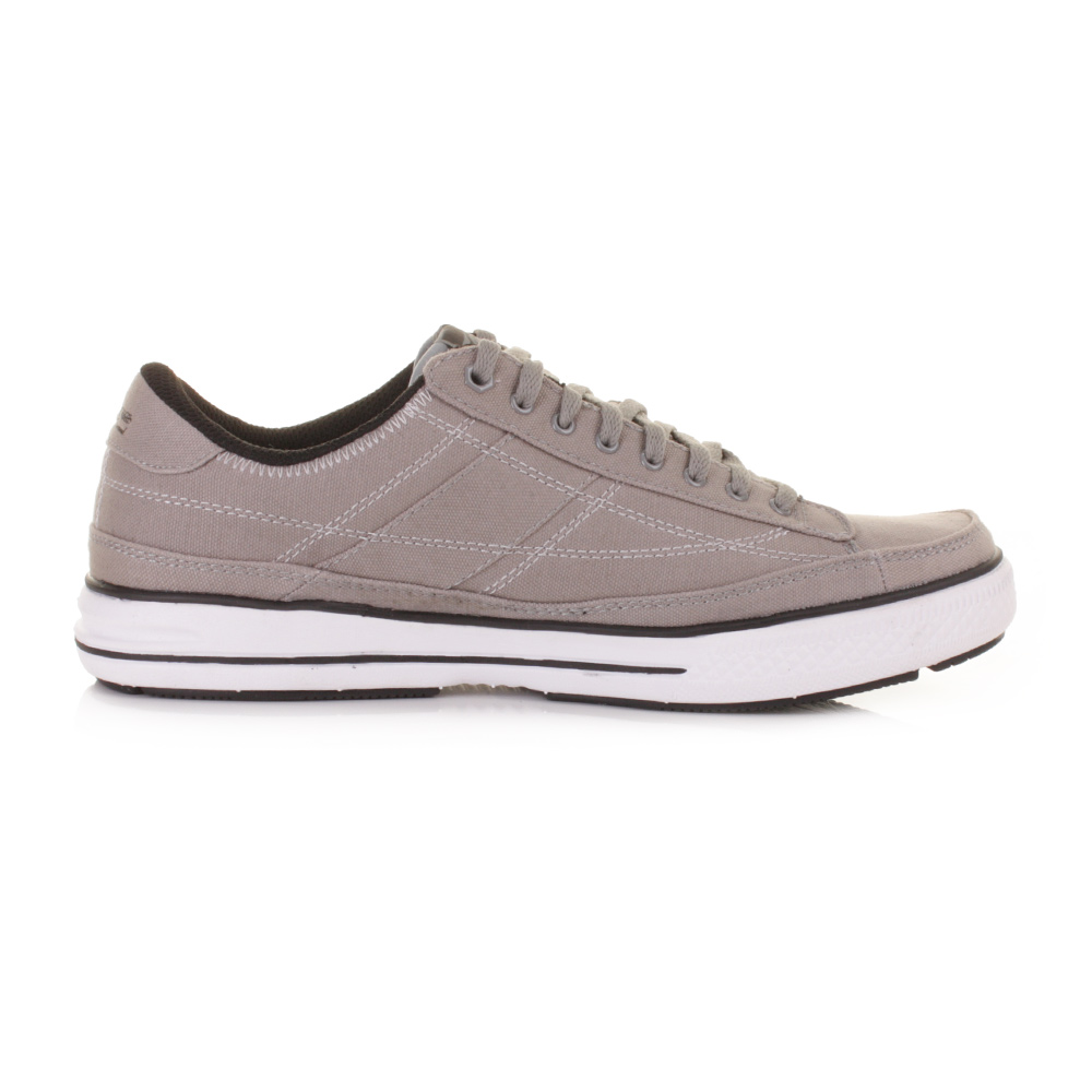 MENS SKECHERS ARCADE CHAT GREY CASUAL LACE UP TRAINERS