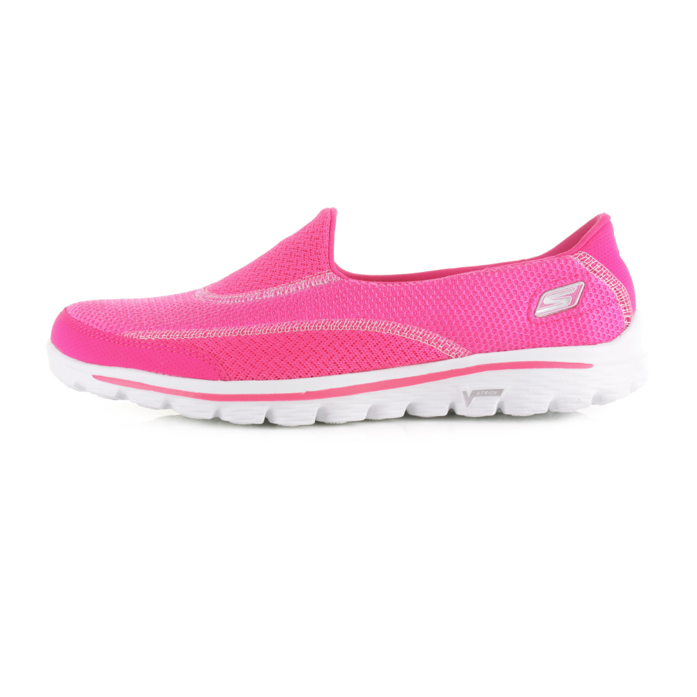 womens skechers go walk 2 hot pink walking comfort ladies. Black Bedroom Furniture Sets. Home Design Ideas