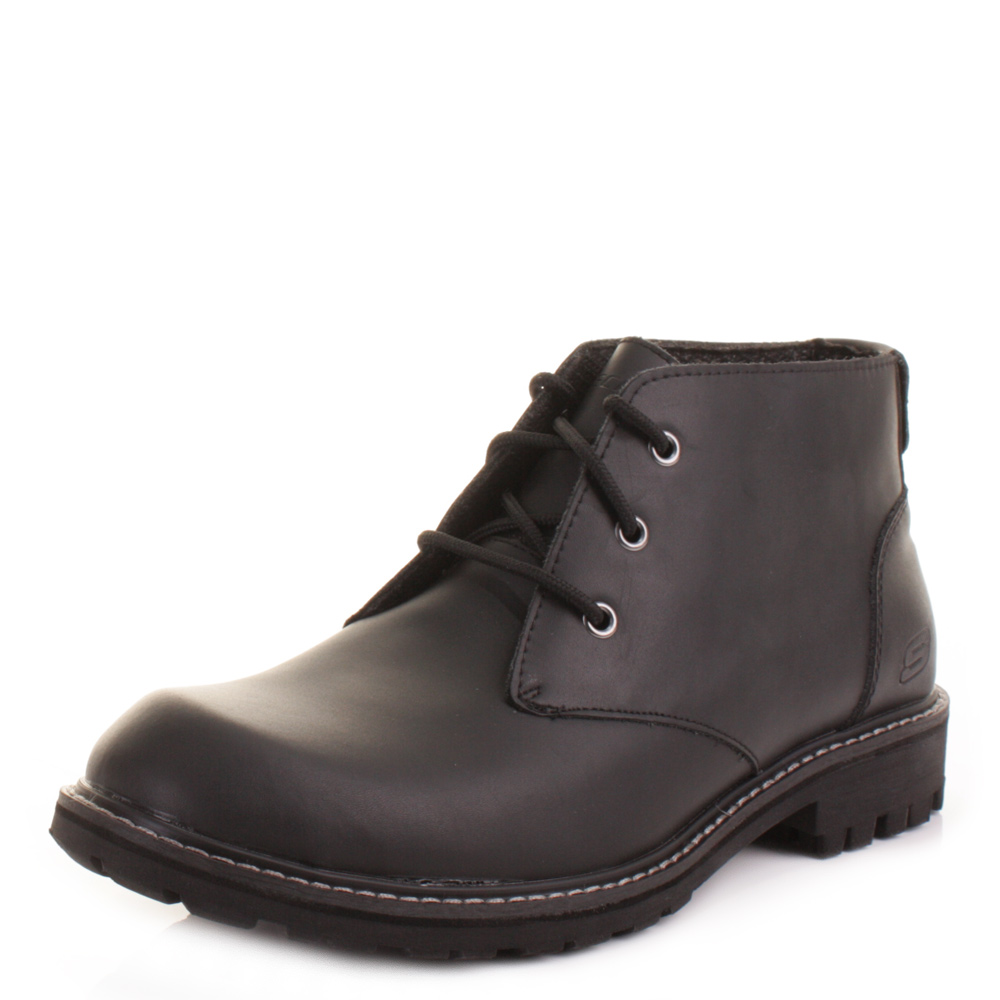Mens Skechers Roven Vellore Black Leather Lace Up Chukka ...