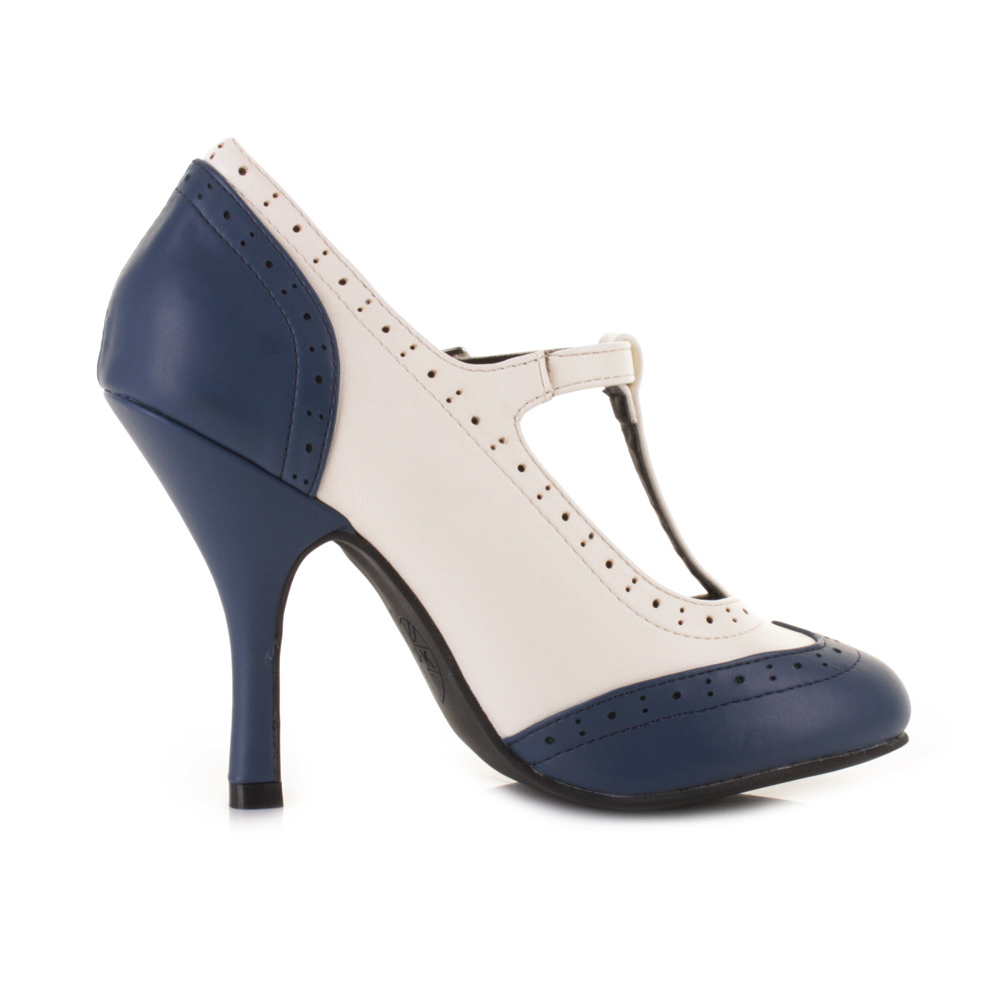 WOMENS TUK NAVY CREAM WINGTIP HIGH HEEL T BAR NAVY CREAM COURT ...