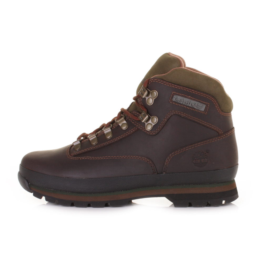 mens timberland hiker brown lace up leather ankle