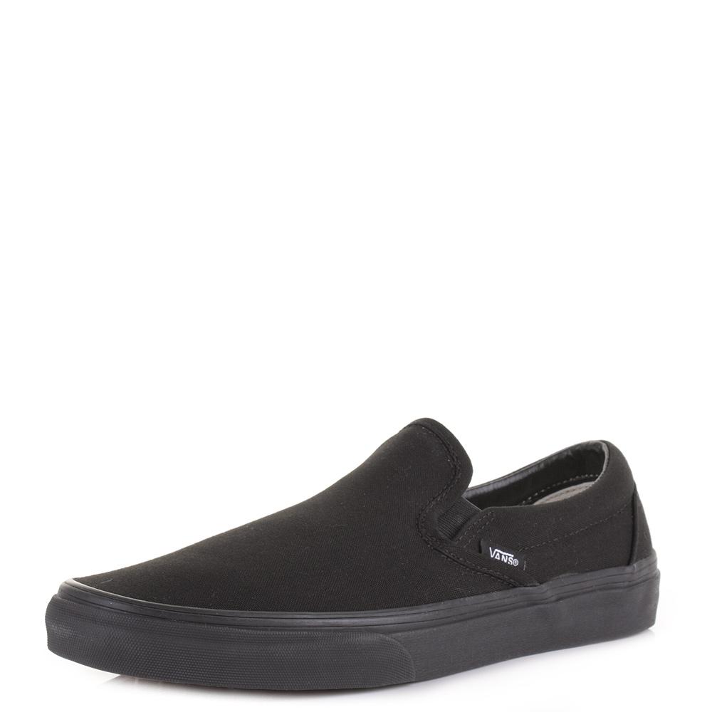 mens vans classic slip on all black canvas plimsoll shoes