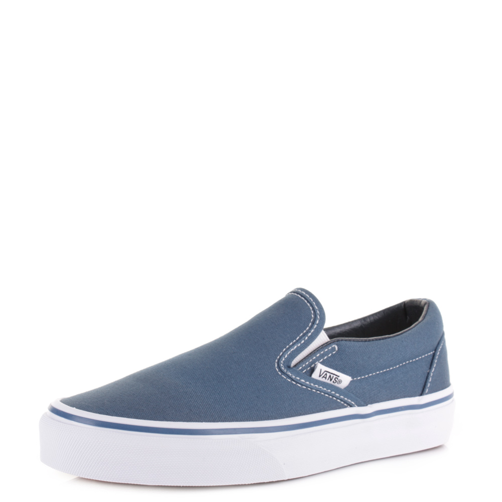 womens vans classic slip on navy plimsolls trainers shoes