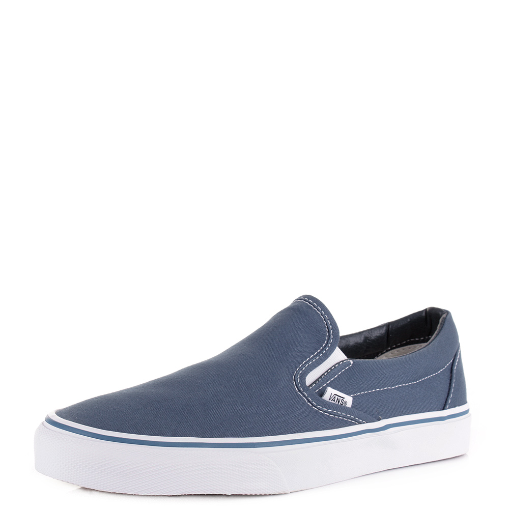 womens mens vans classic slip on navy canvas casual shoes