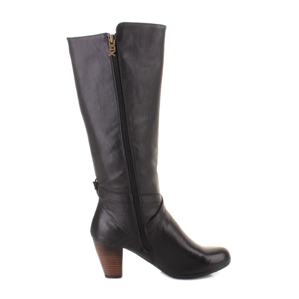 womens xti 27280 black mid stacked heel knee high smart