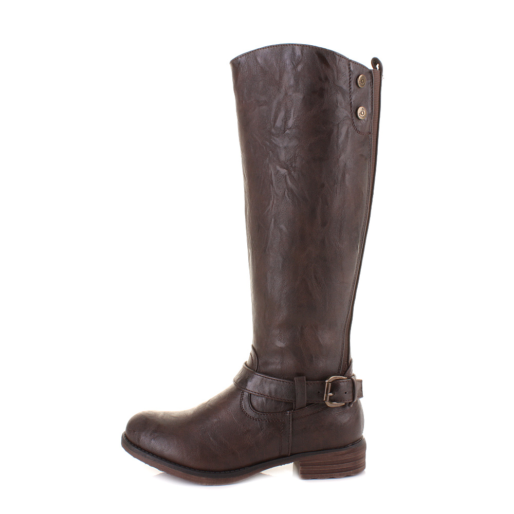 womens xti 27296 brown knee high leather style