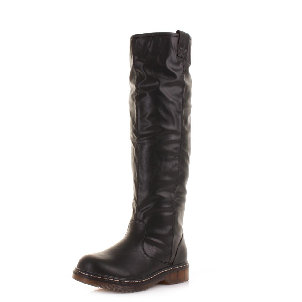womens black faux leather fleece lined flat knee high