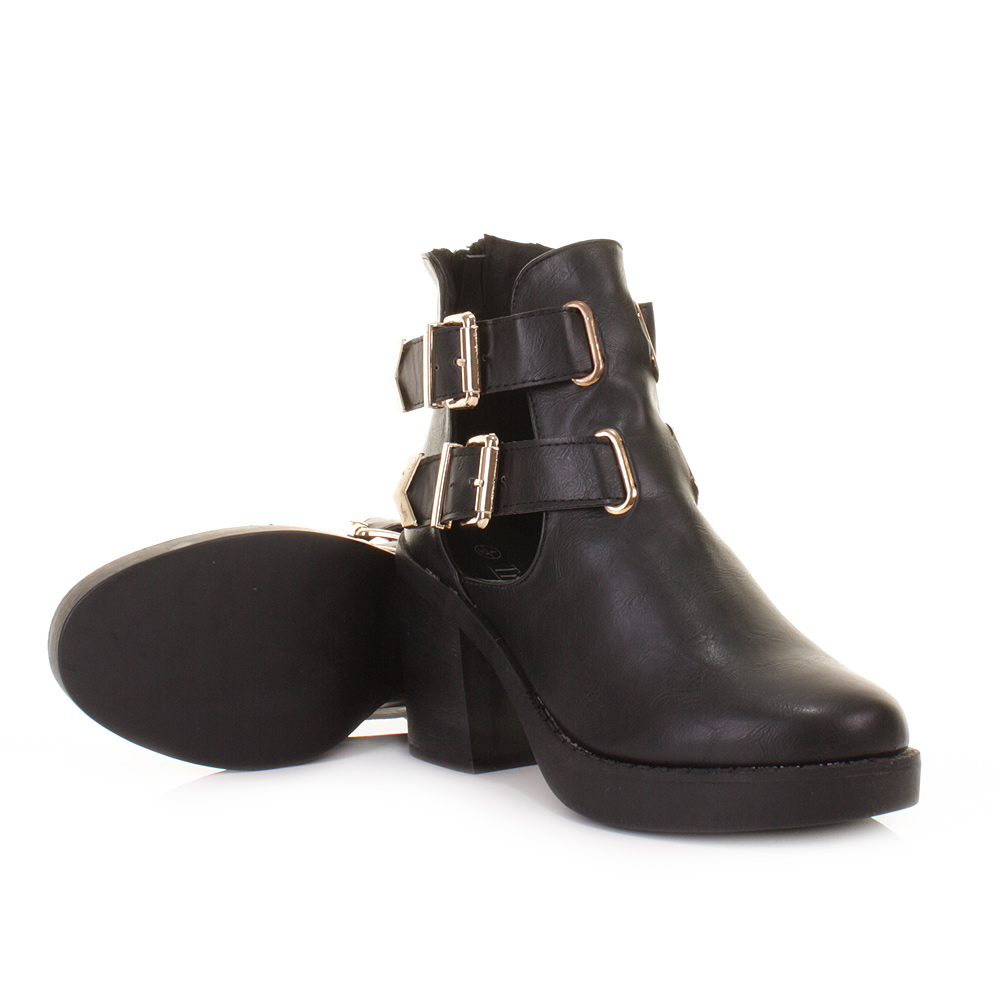 womens black cut out side buckle platform ankle shoe boots