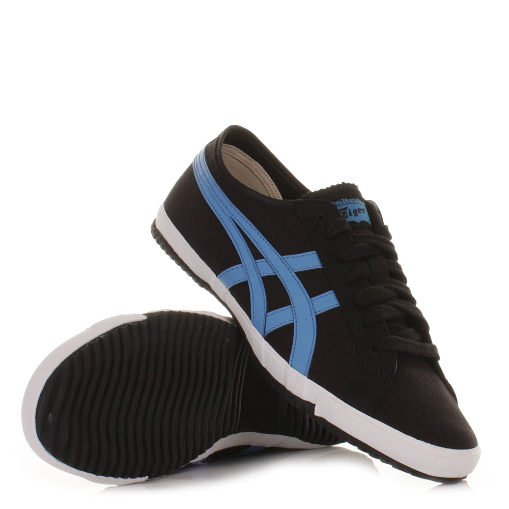 onitsuka tiger trainers mens retro glide cv black blue casual size 8