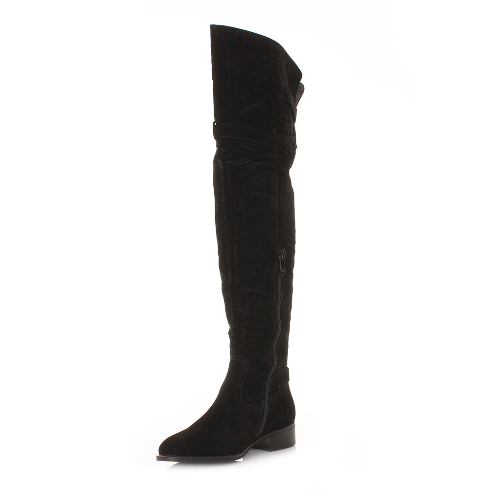 womens black suede style the knee thigh flat