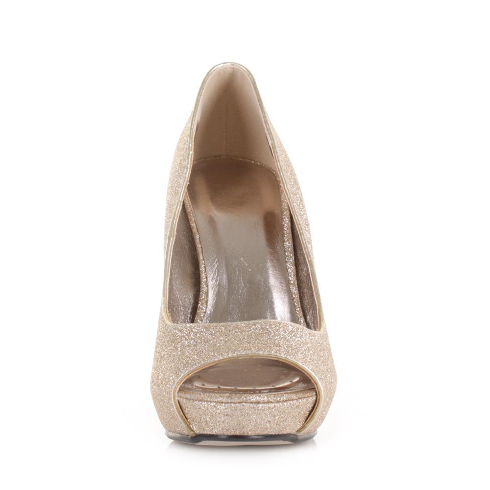 womens gold glitter court high heel metallic prom