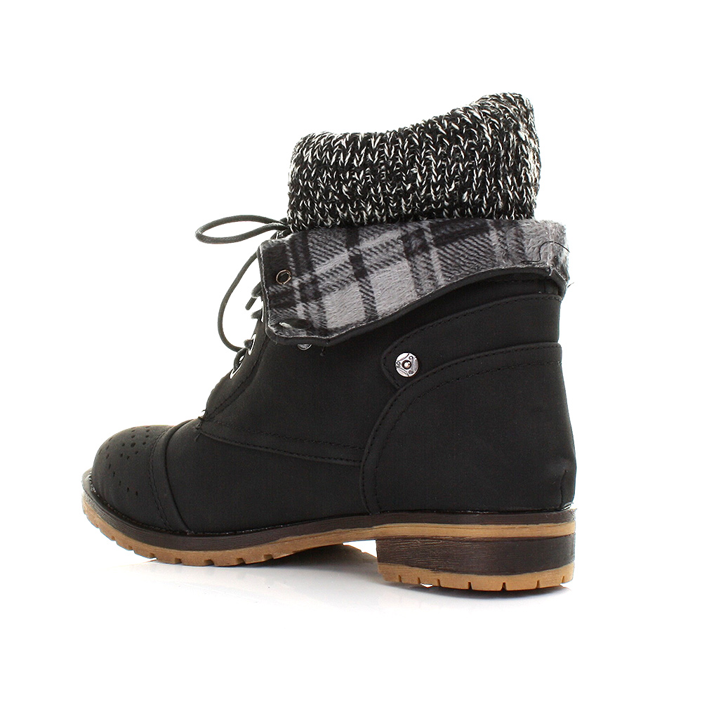 womens lace up knit check cuff worker leather style