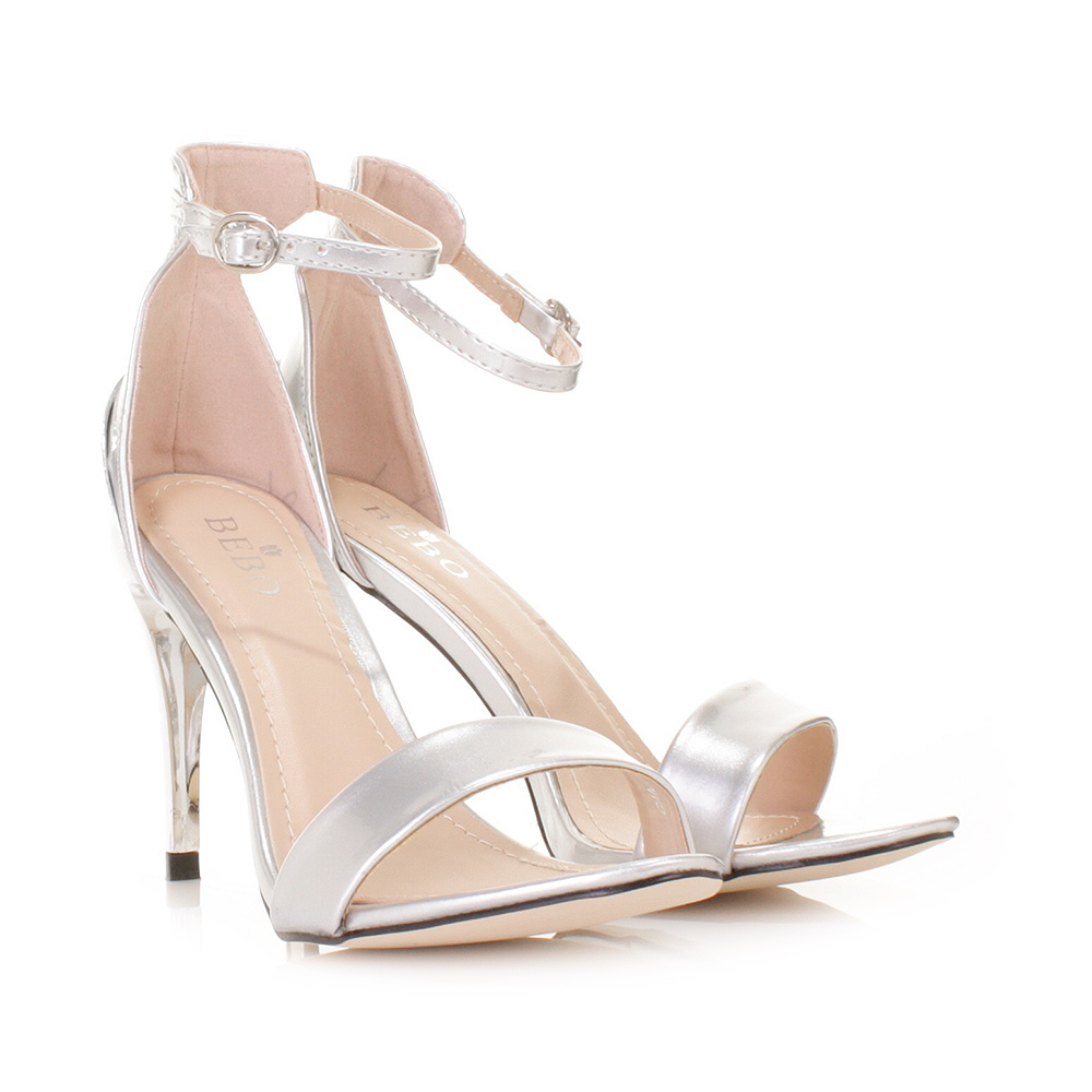 Silver Peep Toe High Heels