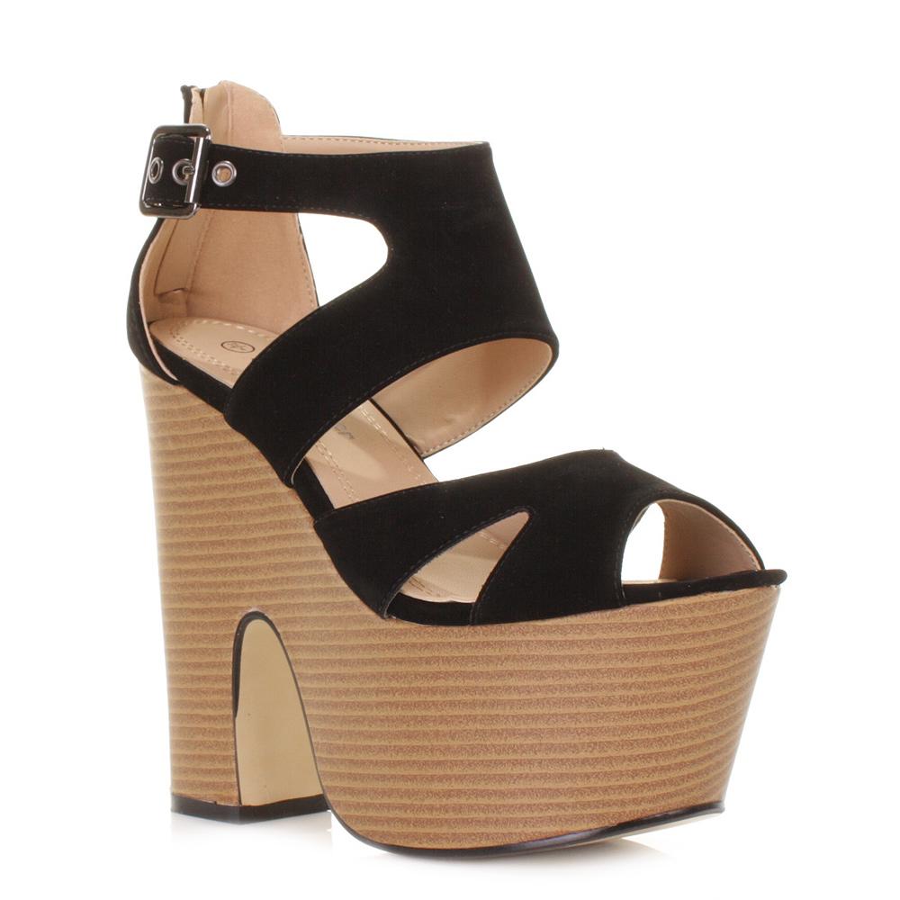 womens platform high heeled peep toe sandals demi