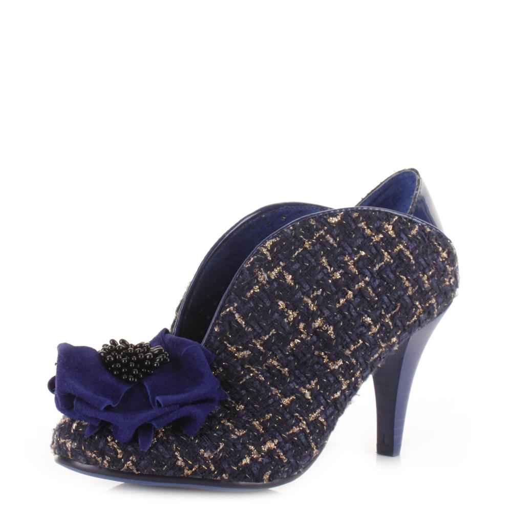 Navy Tweed Heeled Shoes