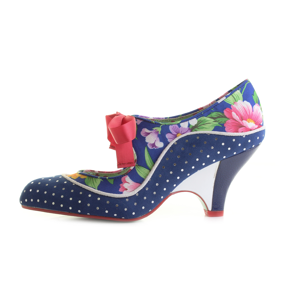 Womens-Poetic-Licence-Schools-Out-Navy-Floral-Low-Heel-Mary-Jane-Shoes-Shu-Size