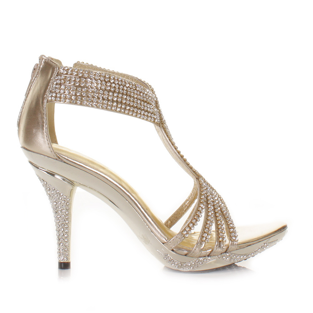 gold womens diamante wedding high heel prom shoes