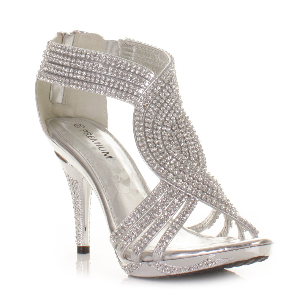 SILVER WOMENS LADIES DIAMANTE WEDDING HIGH HEEL PROM SHOES SANDALS UK SIZE