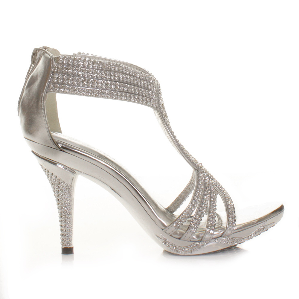 Wedding Prom Sandals silver womens ladies diamante wedding high heel prom shoes sandals size 3 8