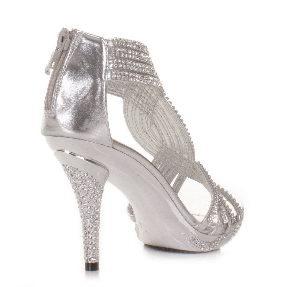 SILVER WOMENS LADIES DIAMANTE WEDDING HIGH HEEL PROM SHOES SANDALS SIZE 3 8