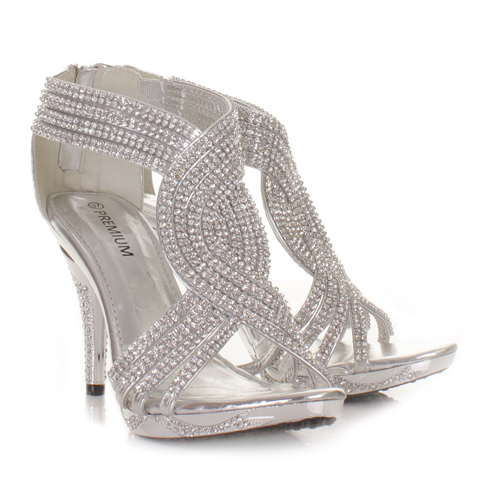 silver womens ladies diamante wedding high heel prom shoes